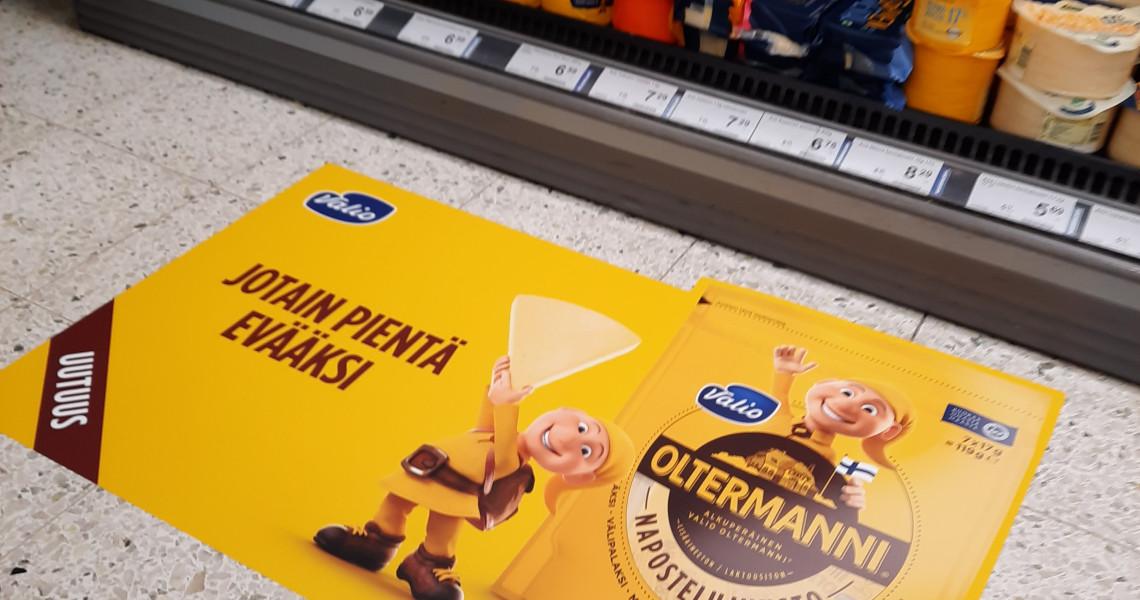 Oltermanni myymälämainonta tarra lattia mainonta mainostaminen myymälässä