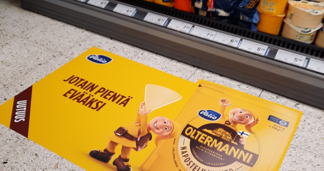 Oltermanni in-store ad floor advertising marketing campaign grocery store